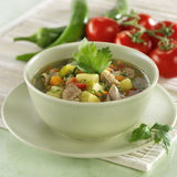 Vegetable soup with lamb Stock Images