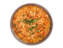 Vegetable soup with lentil and bulgur Stock Photos