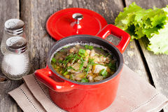 Vegetable soup with lentils in a pot, horizontal. Close up Royalty Free Stock Photos