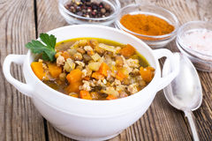 Vegetable soup with lentils Royalty Free Stock Photo
