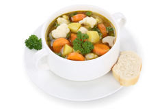 Vegetable soup meal with vegetables in bowl isolated Royalty Free Stock Images