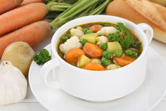 Vegetable soup meal with vegetables, potatoes, carrots Stock Image