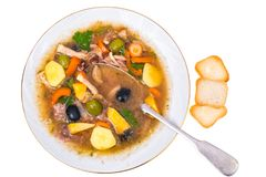 Vegetable soup with meat and olives Royalty Free Stock Image