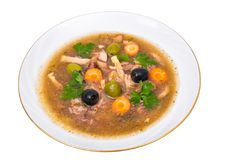 Vegetable soup with meat and olives Royalty Free Stock Photography