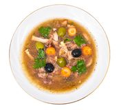 Vegetable soup with meat and olives Royalty Free Stock Photos