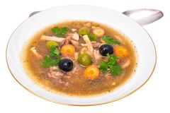 Vegetable soup with meat and olives Royalty Free Stock Images
