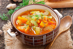 Vegetable soup. On the old wooden background Royalty Free Stock Photography