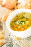 Vegetable soup with pasta Stock Photography