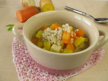 Vegetable soup with pearl barley Royalty Free Stock Photo
