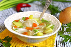 Vegetable soup with pelmeni. Royalty Free Stock Image