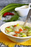 Vegetable soup with pelmeni. Royalty Free Stock Photo