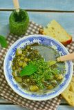 Vegetable soup with pesto sauce Stock Images