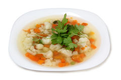 Vegetable soup in plate Royalty Free Stock Photography