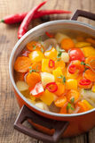 Vegetable soup in pot. Vegetable soup in red pot Royalty Free Stock Photography