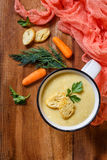 Vegetable soup puree in a mug stock image
