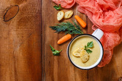 Vegetable soup puree in a mug stock images