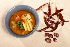 Vegetable soup with red curry Stock Photo