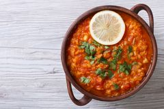 Vegetable soup with red lentils horizontal view from above Stock Photo