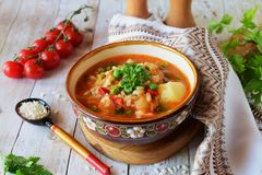 Vegetable soup with rice. Tomato, potato, green peas, carrots and onions. Healthy eating concept Stock Images