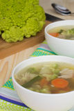 Vegetable soup with romanesco cabbage and chicken Stock Photography