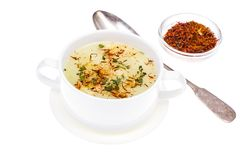 Vegetable soup with saffron in white bowl Stock Photography
