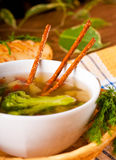 Vegetable soup with salty straws Stock Photography