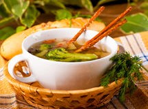 Vegetable soup with salty straws and raw Royalty Free Stock Images