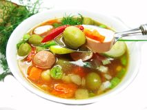 Vegetable soup with sausage and olives Royalty Free Stock Photography