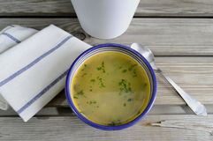 Vegetable soup seen from above Royalty Free Stock Photography