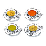 Vegetable soup sketch vector illustration. Royalty Free Stock Photos