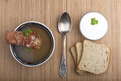 Vegetable soup with smoked meat Royalty Free Stock Photos