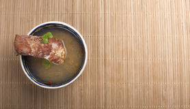 Vegetable soup with smoked meat Royalty Free Stock Photo
