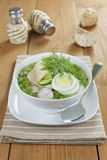 Vegetable soup with sorrel and boiled fish Stock Photography