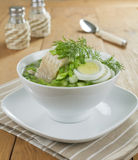 Vegetable soup with sorrel and boiled fish Stock Images