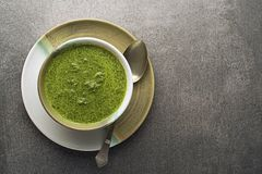 Soup with vegetable and herbs royalty free stock photo