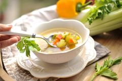 Vegetable soup, summer food with vitamins. Copy space.  royalty free stock photos