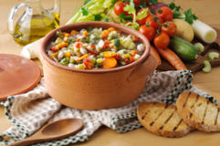 Vegetable soup and toast bread Stock Image