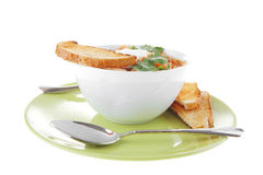 Vegetable soup and toasts Stock Photo