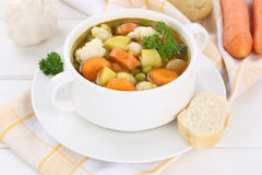 Vegetable soup with vegetables in cup Royalty Free Stock Image
