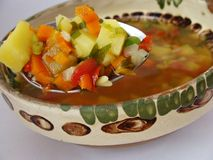 Vegetable soup. Soup with vegetables and lovage Stock Photos