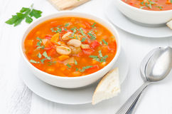 Vegetable soup with white beans in a bowl top view Royalty Free Stock Photography