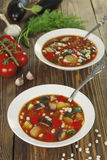 Vegetable soup with white beans Royalty Free Stock Photography