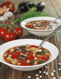 Vegetable soup with white beans Stock Photos