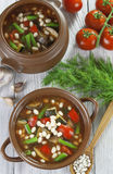 Vegetable soup with white beans Royalty Free Stock Photo