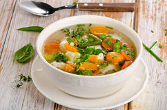 Vegetable soup. In a white bowl. Selective focus Royalty Free Stock Photography