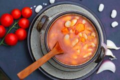 Vegetable soup with white kidney beans Royalty Free Stock Image