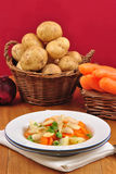 vegetable soup in a white plate Royalty Free Stock Photo