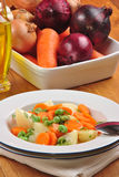 vegetable soup in a white plate Stock Photo