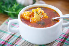 Vegetable Soup With Cauliflower And Beets Royalty Free Stock Photography