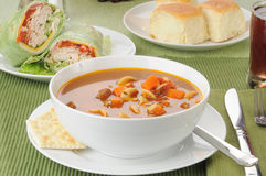 Vegetable Soup With Turkey Wraps Royalty Free Stock Photography